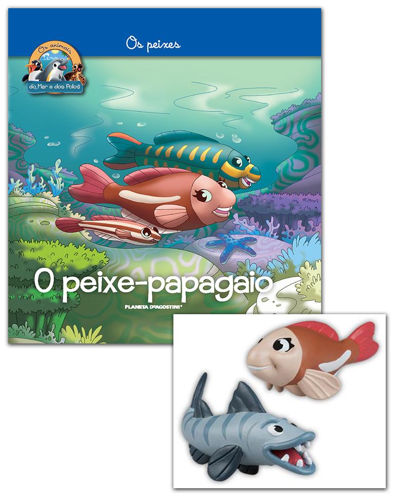 Livro + Conjunto de Figuras: Mamã Peixe-papagaio + Papá Barracuda grande