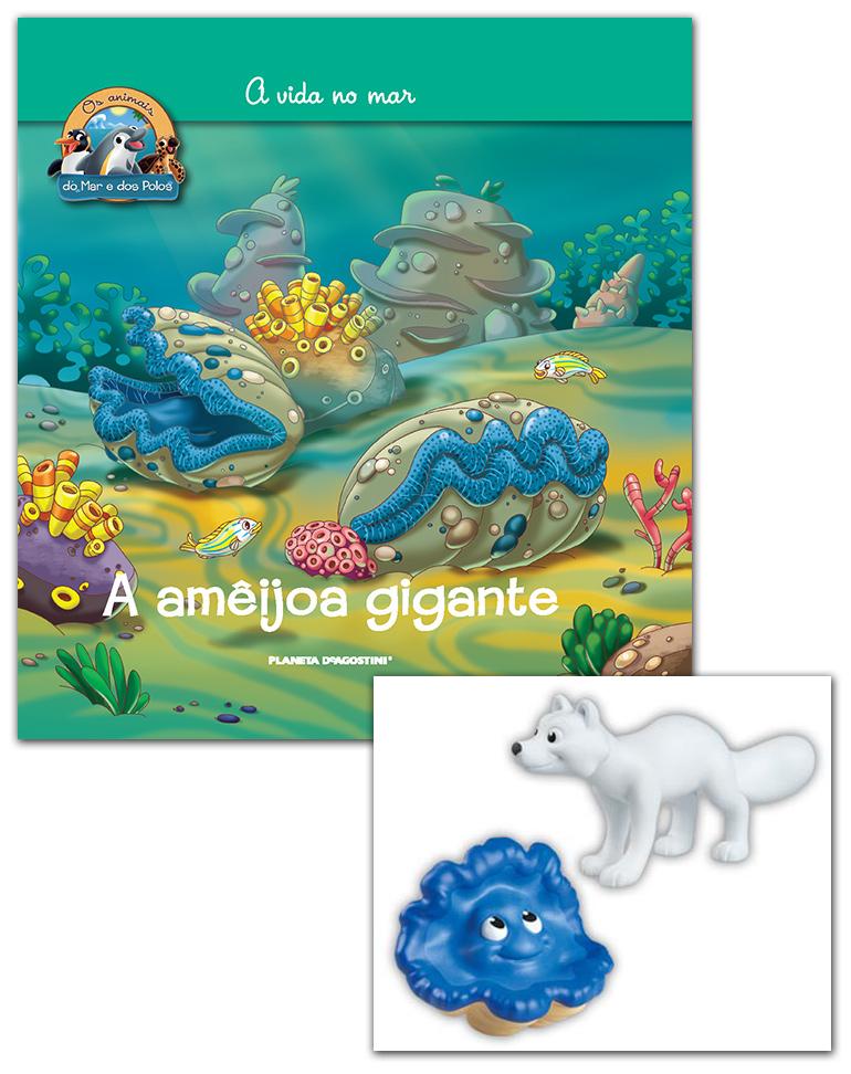 Livro + Conjunto de Figuras: Papá Raposa do Ártico + Ameijoa gigante fêmea
