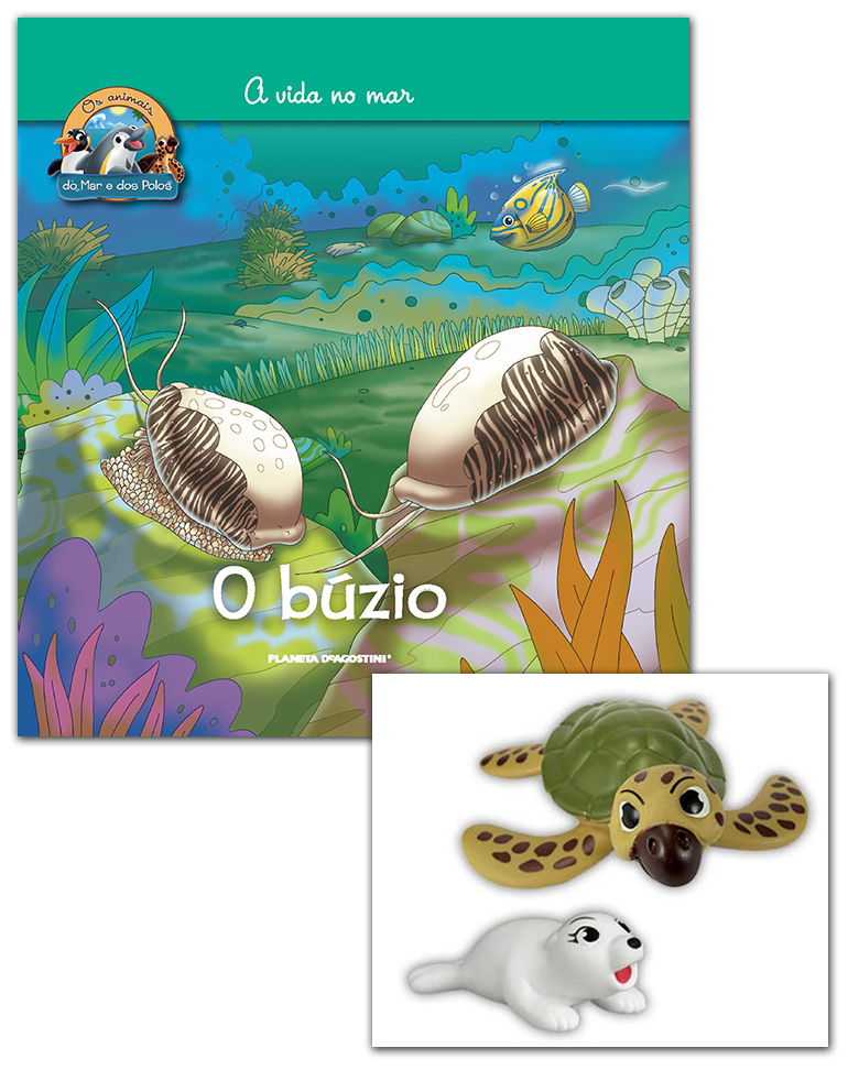 Livro + Conjunto de Figuras: Tartaruga careta papá + Foca da Gronelândia bebé