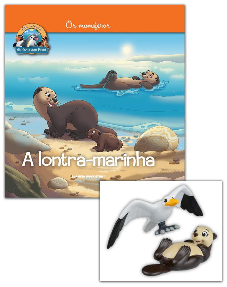 Livro + Conjunto de Figuras: Lontra marinha mamã + Gaviota papá