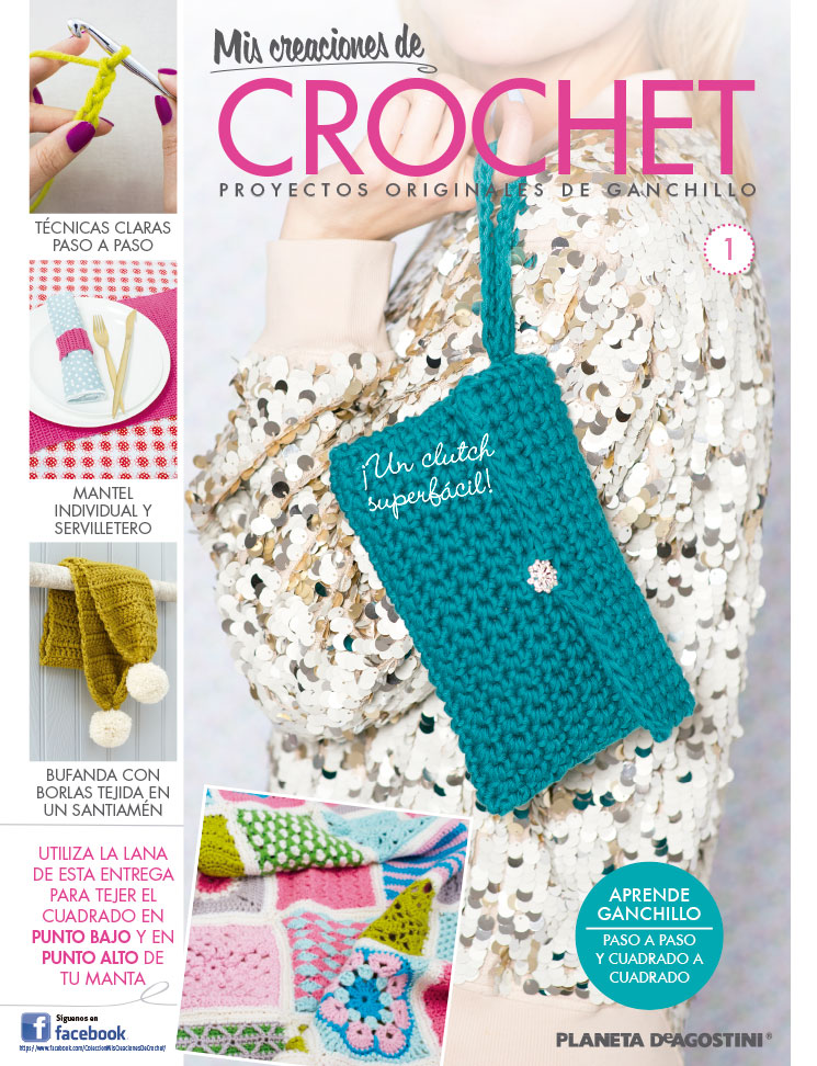 Fascículo 1 + ovillo Azul mora + ovillo Gris hielo + aguja de crochet de 4 mm