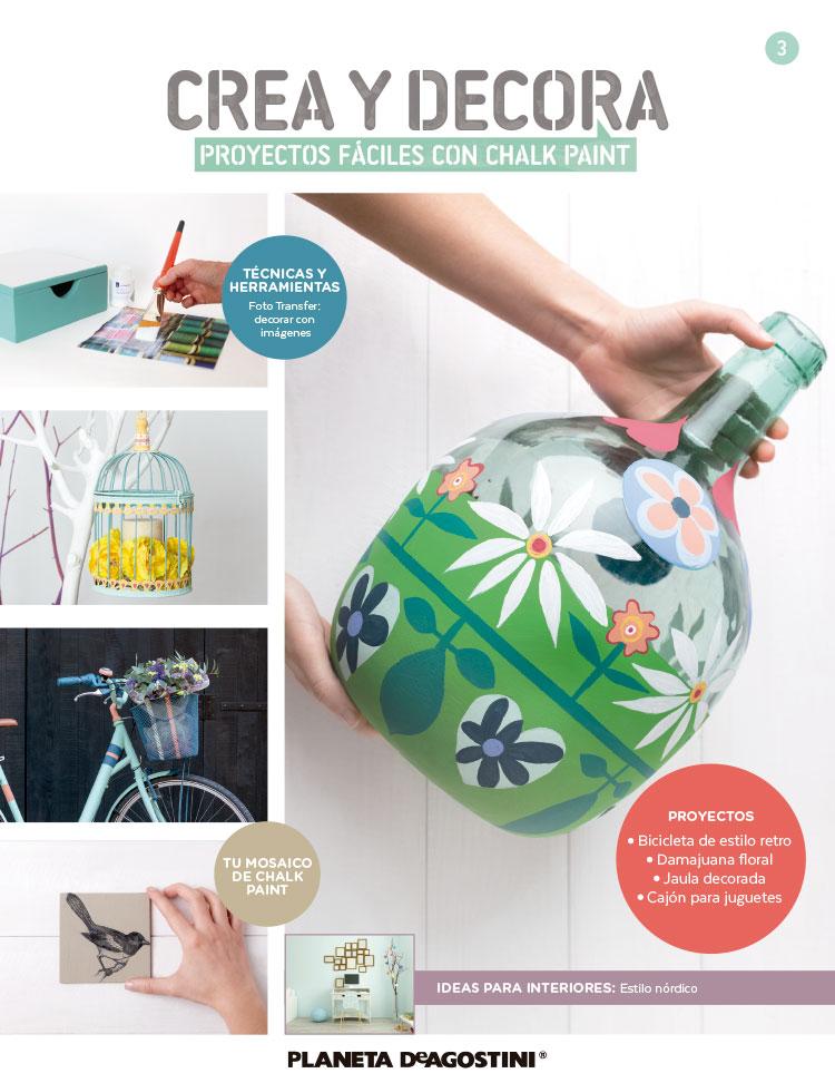 Fascículo 3 + Chalk Paint Verde Mint + foto transfer + 3 láminas para transferir + cuadrado de madera