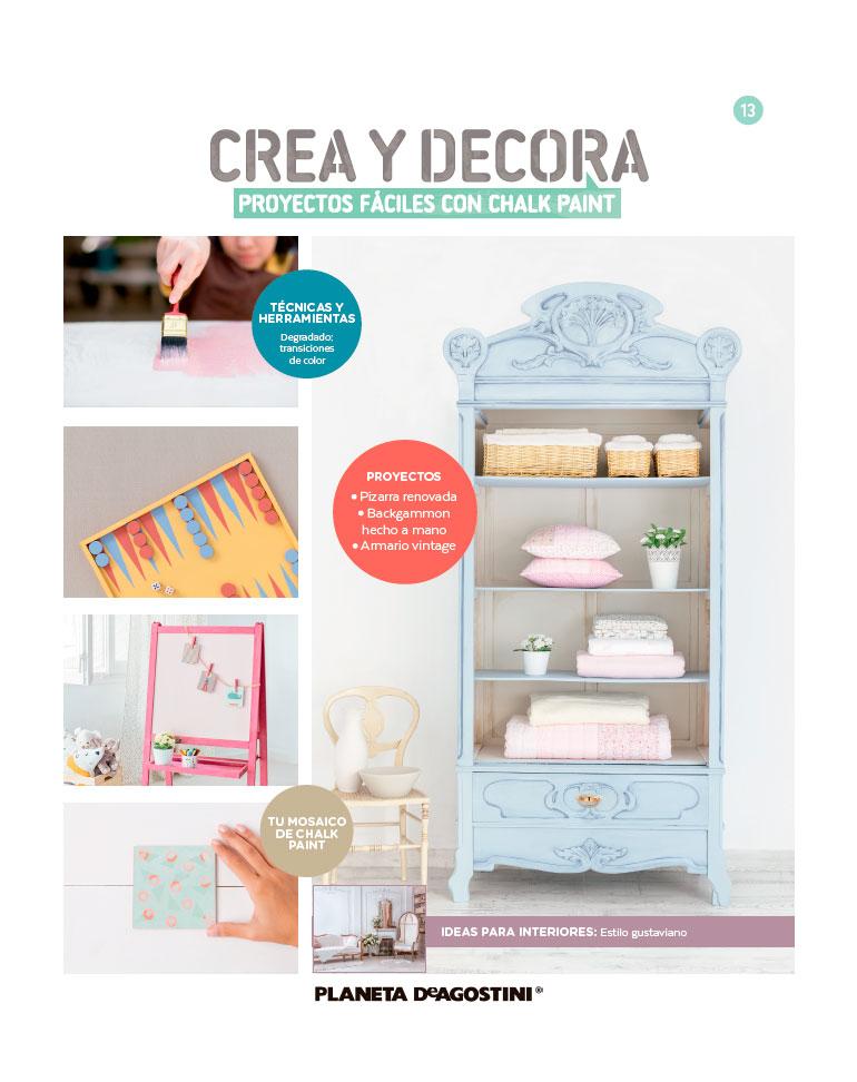 Fascículo 13 + Chalk Paint Rosa capricho + cinta de carrocero azul + cuadrado de madera