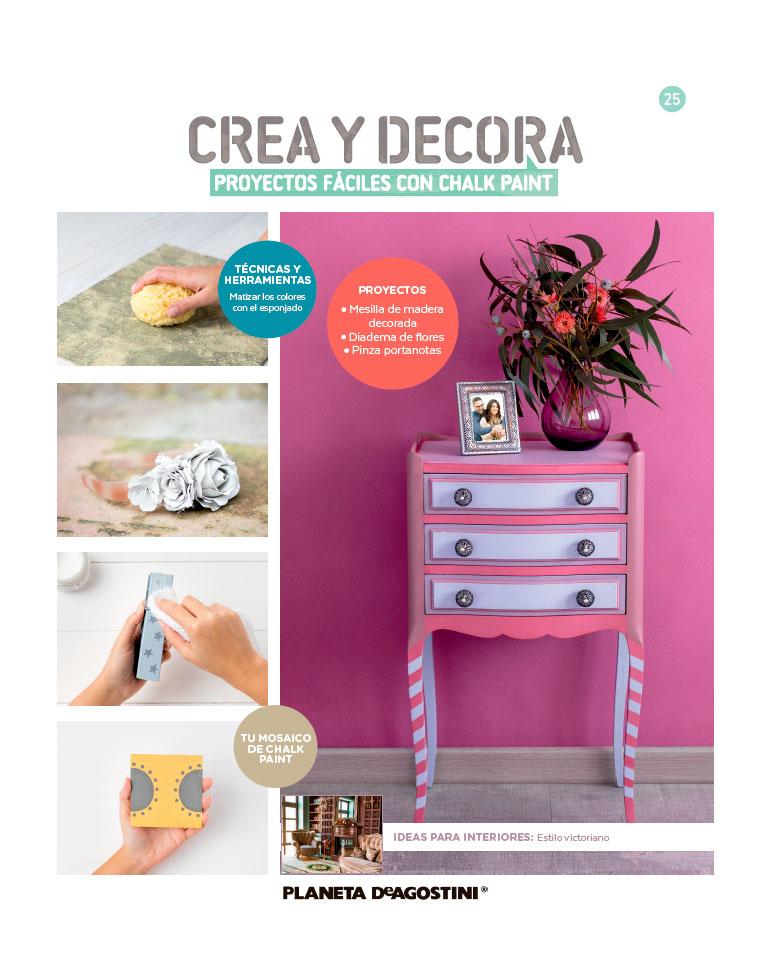 Fascículo 25 + Chalk Paint Flor de jazmín + adhesivos de estrella + cuadrado de madera