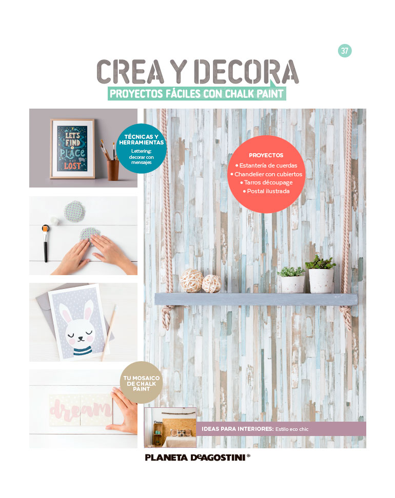 Fascículo 37 + Chalk Paint Smmoth Grey Island + láminas de découpage + cuadrado de madera
