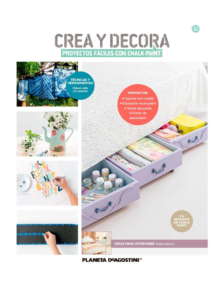 Fascículo 42 + Chalk Paint Toffe + adhesivos variados + cuadrado de madera